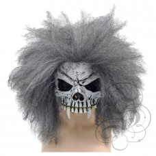 Half Face Skull Mask with Grey Hair