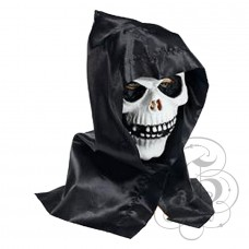 White Skull Latex Mask with Hood