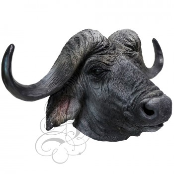 Latex Realistic Bull Cow Mask (Black with Horns)