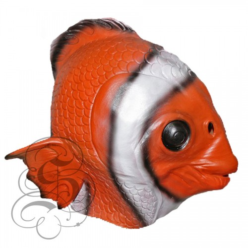 Latex clown fish mask animal overhead party mask for Fish head mask