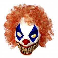 Evil Clown Latex Mask with Cury Wig