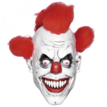 Crazy Clown Mask with Red Hair