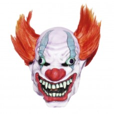 Scary Clown Latex Mask with Orange Wig